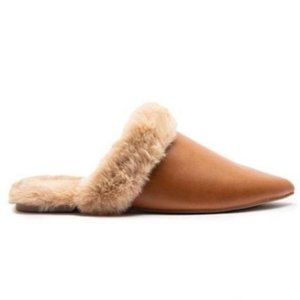 Faux Fur Lined Pointed Toe Mule in Camel